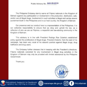 PH Embassy Warns Pinoys in Bahrain Against Illegal Drug Activities